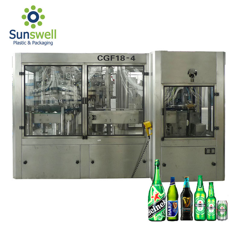Can Beer Production Line Complete Automatic Rising Filling Screwing 3 In 1 Monoblock